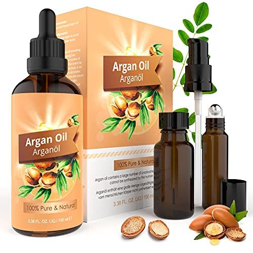Olio di Argan 100ml, 100% Puro Naturale Argan Oil per Capelli, Viso, Corpo e Unghie, Idrata la Pelle, Ripara, Antiossidante, Rinforza le Radici dei Capelli