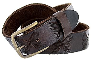 """Full Grain Tooled Leather Butterfly Embossed Casual Belt 1-1/2"""" Wide (Brown, 38)"""