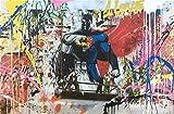 Weirdope Art Street Art Peinture Brainwash Batman vs Superman Poster abstrait Banksy Graffiti Impression sur toile Art Pop Art pour la maison, le bureau et la maison, 70 x 93 cm sans cadre