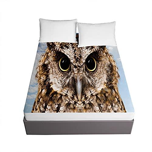 3D Sábana Bajera Ajustable Colchones Decorativa, Chickwin Animal Impresión Suave Cómoda Transpirable Microfibra Tela- Elástico en el Borde Bolsillo Profundo 30cm (Búho,180x200x30cm)