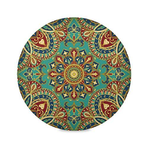 LUCKYEAH Tischsets Indische Tribal Floral Mandala Runde Platzsets für Teller Geschirr rutschfest waschbar Tischmatten für Zuhause Küche Esstisch 39cm 1 Stück