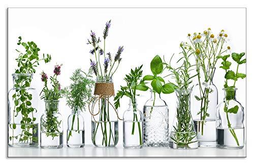Artland Spritzschutz Küche aus Alu für Herd Spüle 80x50 cm Küchenrückwand mit Motiv Pflanzen Kräuter Gewürze Lavendel Basilikum Blumen H9KE
