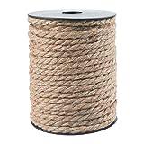 30M Cuerda de Yute Gruesa Cuerda cáñamo 7mm,Natural Rollo de Cordel Yute para Embalaje,Decoración,Jardinería