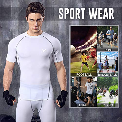 MEETYOO Men's Compression Tops, Running Shirt Short Sleeve T-Shirt Quick Dry Base Layer Top for Gym Sports Fitness Workou