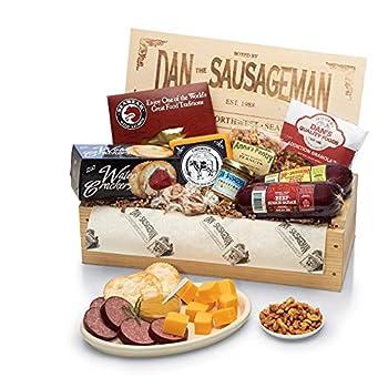 Dan the Sausageman s Favorite Gourmet Gift Basket -Featuring Dan s Original Sausage Seabear Salmon 100% Wisconsin Cheeses and Dan s Sweet Hot Mustard