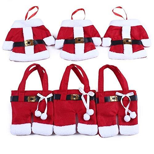 StillCool Weihnachten Bestecktasche Taschen Tischdekoration 6pcs Sankt-Klage Weihnachten Dekoration Tischdeko Besteck Kostüm Kleine Hosen und Kleidung Besteck-Sets(6 Stücke)