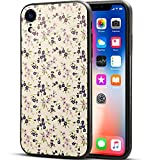 GIRLSCASES® | Hülle kompatibel für iPhone XR in Schwarz mit Blumen/Flowers Schutzhülle aus Silikon mit Blumen/Flowers Aufdruck/Motiv Glänzend | Farbe: Lila/Rosa/Creme