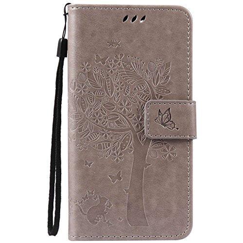 Guran® PU Leder Tasche Etui für Wiko Pulp 3G (5 Zoll) Smartphone Flip Cover Stand Hülle & Karte Slot Hülle-grau