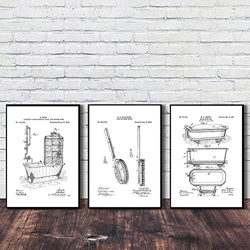 Bañera Grifo Cepillo Papel higiénico Diseños patentados Decoración de baño Cartel divertido Retro Lienzo blanco y negro Arte de la pared Imágenes impresas 60 * 80 cm
