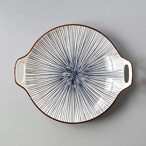 DJY-JY Platos de cena creativos de doble oreja, placa de cerámica esmaltada de color simple para el hogar 22,8 cm, platos de servir platos de cocina para suministros de cocina