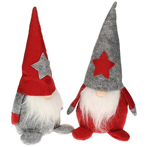 MACOSA HOME Weihnachtswichtel 2 er Set in Rot & Grau Filz 25 cm Deko-Figur Weihnachten Weihnachtsdekoration Weihnachtsfigur Wichtel Zipfelmütze (2)