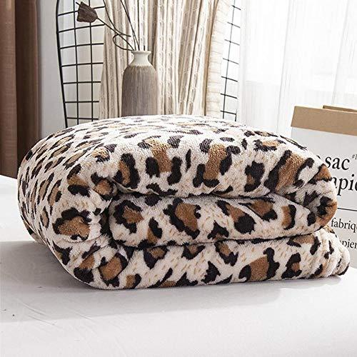 Générique Couvertures Corail Velours Upgrade Single Layer Flannel Blanket Plain Quatre Seasons Gift Blanket Leopard Print 100X120Cm