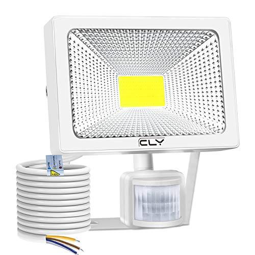 CLY 50W LED Strahler mit Bewegungsmelder,LED Scheinwerfer 6500K kaltes Weiß 5000LM IP66 Wasserdicht, Außenstrahler Superhelle, LED Fluter Sensorleuchten für Garten, Hinterhof, Garage, Türen