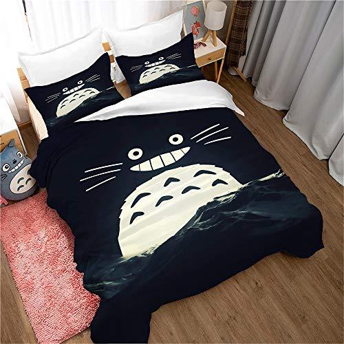 Ste-X Juego De Cama con Funda Nórdica De Microfibra Totoro 240x220 / 180x220 / 150x200cm (Estilo 04,(150x200cm)-Cama de 90)
