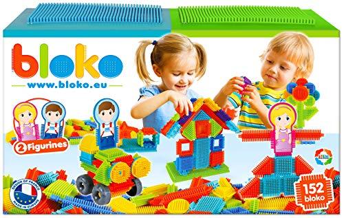 BLOKO - 503625 - Cofanetto da 150 2 placche da Gioco e 2 Personaggi Famiglia - da 12 Mesi - Fabbricato in Europa - Giocattolo da Costruzione