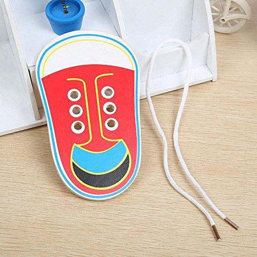 Yanten Schnürung Schuhe Kinder Holz Schnürung Schuhe Kleinkind Kinder Unterricht Krawatte Schnürsenkel Spielzeug Early Learning Toys