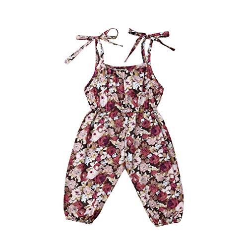 LUCSUN Trajes para recién nacido, sin mangas, diseño floral, sin mangas, para bebé, ropa de verano