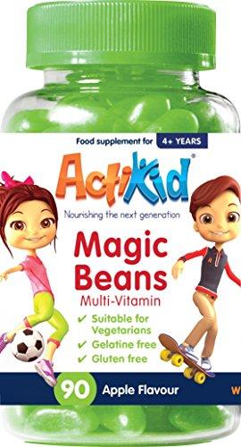 ActiKid Magic Beans Multivitamin 90x Apple Flavour, Gelatine Free, Vitamins for children, Fortalecimiento del sistema inmunológico