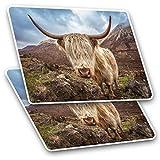 Pegatinas rectangulares impresionantes (juego de 2) 7,5 cm – Wild Highland Cow Yak Animal Fun calcomanías para ordenadores portátiles, tabletas, equipaje, chatarra, neveras, regalo fresco #15632