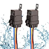 Gebildet 2 pezzi Universale Relè Impermeabile 12VDC 30A/40A 5 Pin SPDT, Relè Automatico con 16AWG 14AWG Integrata Presa