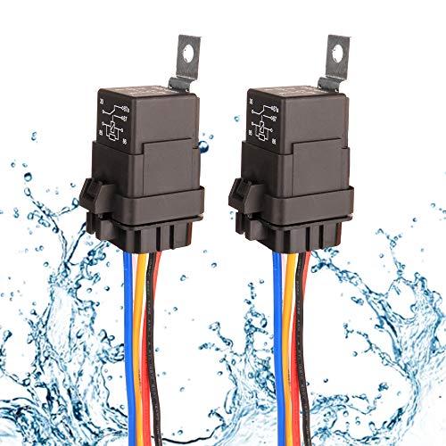 Gebildet 2 Stücke 40/30A 12V Wasserdichtes Relais-Kabelsatz-Set - 5-PIN-SPDT-Relais im Bosch-Stil mit robuster 16AWG 14AWG-Kabel