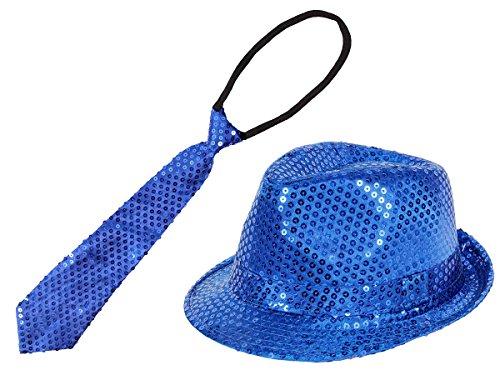 Alsino Glitzer Hut mit Pailletten Krawatte - blau (Th-59) Set Karneval Fasching Outfit Verkleidung für Erwachsene
