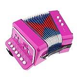 Injoyo Acordeón Instrumento Musical Instrumento De Juguete Para Niños De 4 Años En Adelante - Rosa roja