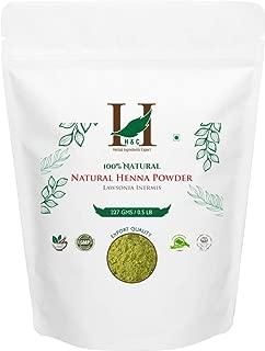 H&C 100% Natural and Pure Henna Powder/Lawsonia Inermis (Organically Grown) 227 gms (1/2 LB) for Hair