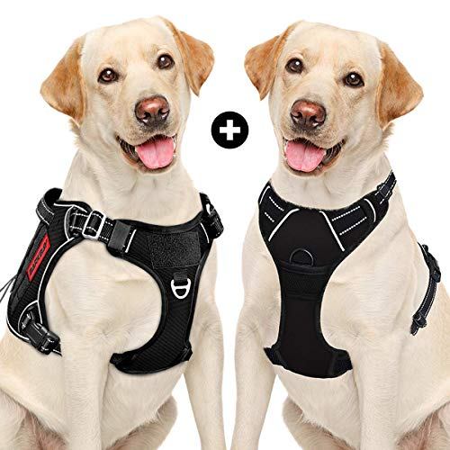 No Pull Dog Harness Large Step in Reflective Dog Harness with Front Clip and Easy Control Handle&BARKBAY Tactical Dog Harness Large,Military Service Weighted Dog Vest Harness(Black,L)