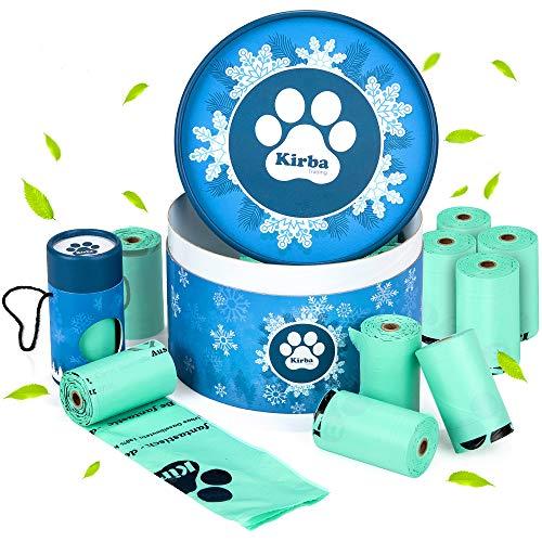Kirba Hundekotbeutel - Kotbeutel für Hunde - Besonders reißfeste & biologisch abbaubare Hundebeutel - Poop Bags mit angenehmem Duft und inkl. neuartigem Spender aus Karton (Eisblumendesign)