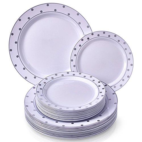 VAJILLA PARA FIESTAS DESECHABLE DE 40 PIEZAS | 20 platos grandes | 20 platos para ensalada/postre | Elegante aspecto de porcelana fina | Para bodas y comidas de lujo (Dots – Blanco/Plata)