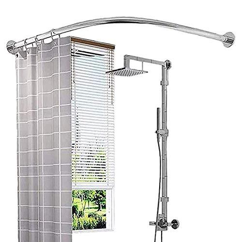 Nigdy nie rdzewieje i nie opadają rozciągliwy drążek zasłony prysznicowej, bez wiercenia zaokrąglony metalowy drążek do zasłony prysznicowej, karnisze do zasłony prysznicowej z darmowymi pierścieniami do zasłony prysznicowej 70 do 95 x 120 do 165 cm
