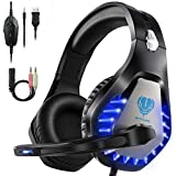 HeysTop Casque Gaming PS4,Casque Gamer avec Micro LED Lumière Professional Deep Bass Sourround pour Xbox One/PC/Mac/Nintendo Switch
