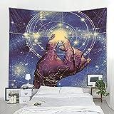KHKJ Cielo Estrellado patrón de tótem Tapiz Mandala Tapiz Luna Sol Blanco Negro Tapiz Hippie decoración de la habitación Tapiz A2 200x180cm