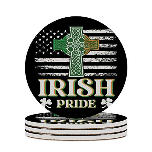 Round Ceramic Stone Coaster Set of 4 Celtic Cross Irish_Vectorized Round Coaster Drink Absorption Coaster with Cork Base (3.9 inches)