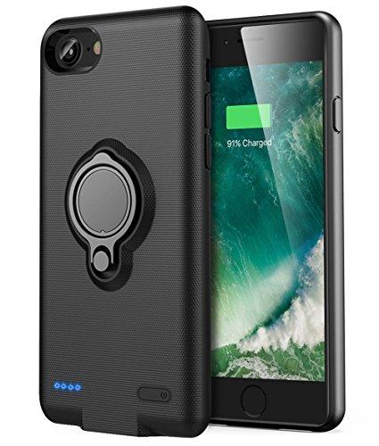 iPhone 6 Plus/6s Plus accuhoes - Veepax Premium 7200 mAh draagbare laadkoffer verlengde oplaadbare powerbank met ringhouder standaard voor Apple iPhone 6 Plus/6s Plus (5,5 inch) - zwart