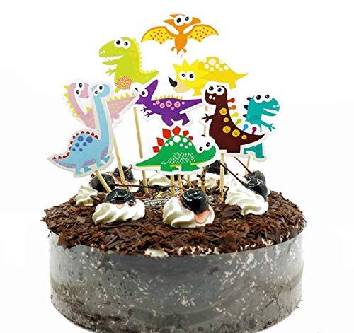 Decoración para tarta de dinosaurio, diseño de Happy Birthday Twinkle DIY con purpurina para decoración de primer cumpleaños para magdalenas y tarta