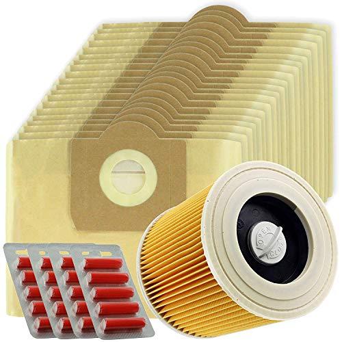 Grand sacs à haute filtration Spares2go + cartouche de filtre pour Karcher WD3 WD3P et aspirateur de nettoyage à sec ou humide (lot de 20 + filtre)