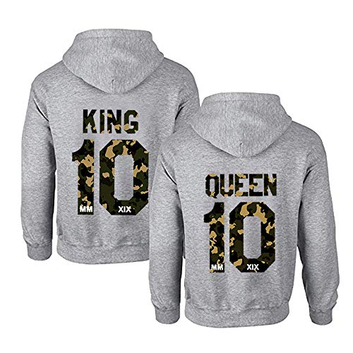 TAAIWO 1 Stücke Pärchen Hoodie Set King Queen Pullover für Zwei Kapuzenpullover für Paare Paar Valentinstag Partner Geschenke Partnerlook Liebespaar Couple Mr Mrs Kapuzenpulli (M,Tarnung-Queen)