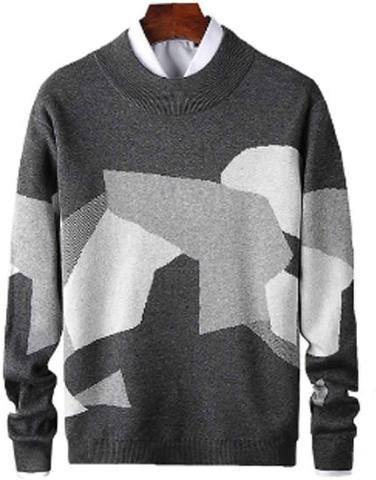 ZYING Mens Casual Sweater Fit Knitted Patchwork Color Mens Slim Sweaters Cotton Long Sleeve Round Collar Male Warm Pullovers (Size : Dark Gray)