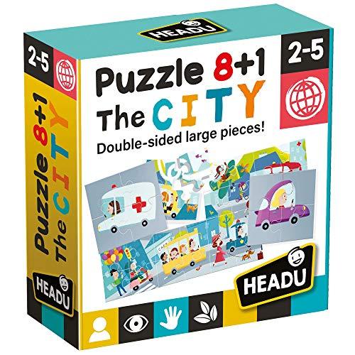 Headu Puzzle 8+1 City, Multicolore, IT20508