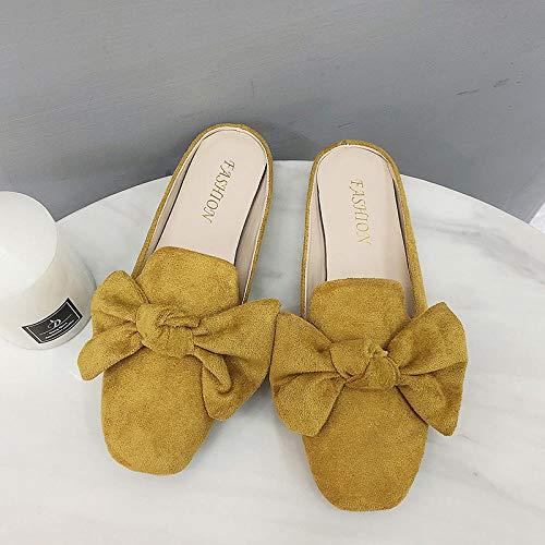 YYFF Chanclas para Adulto Mujeres,Testa piatta metà Verso le Scarpe,indossare Sandali quadrati-Yellow_43,Zapatillas de Casa