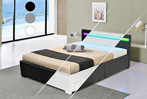 DRULINE LED Bett Vienna Doppelbett Polsterbett Lattenrost Kunstleder Gestell Bettkasten (140x200, Weiß)