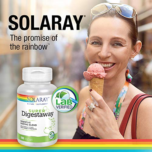 Solaray Super Digestaway Digestive Enzyme Blend | Healthy Digestion & Absorption of Proteins, Fats & Carbohydrates | Lab Verified | 180 VegCaps