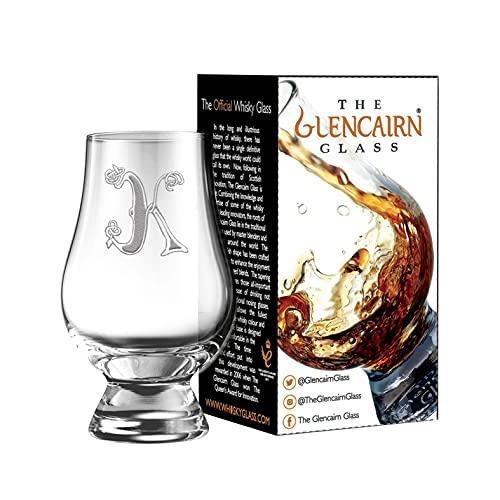 Celtic 'K' Monogram Engraved Glencairn Whisky Glass in Gift Carton