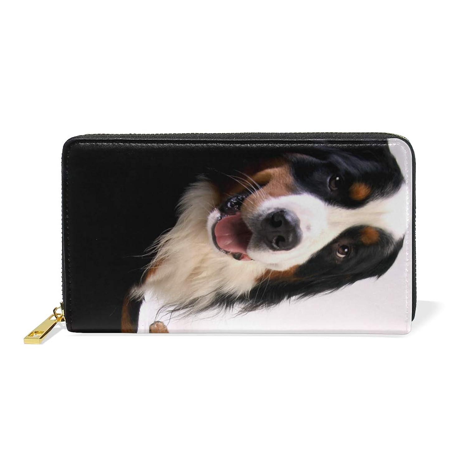 息切れ本マダムAyuStyle 長財布 財布 レディース メンズ 犬 イヌ 写真 大容量 個性的 ラウンドファスナー ロング ウォレット PUレザー お札入れ 小銭入れ カード入れ