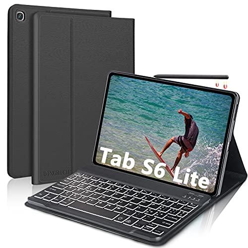 """Custodia con Tastiera per Samsung Galaxy Tab S6 Lite, D DINGRICH Cover con Tastiera Italiana 7 Colori Retroilluminata Wireless Rimovibile per Samsung Tab S6 Lite 10.4"""" 2020 P610/P615, Nero"""