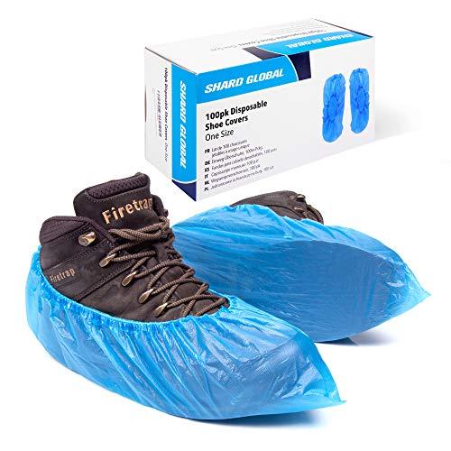 Confezione da 100 sovrascarpe in plastica monouso / copri scarpe per pavimenti   CPE resistente da 3g in una scatola con dispenser, di Shard Global