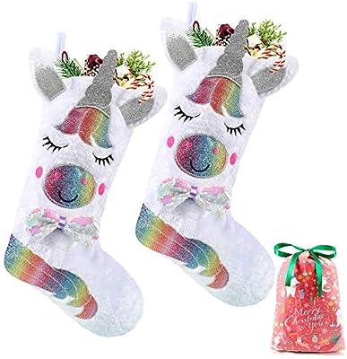 Tacobear 2 Piezas Unicornio Adornos Navidad Medias de Navidad Calcetines con Bolsa de Regalo Fiesta Unicornio Decoración para Árbol de Navidad Puerta Pared Casa Jardín Chimenea Ventana (Sin Luz)