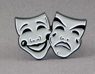 Spilla in metallo smaltato con raffigurazione maschere teatrali di commedia e tragedia, musica, teatro, recitazione